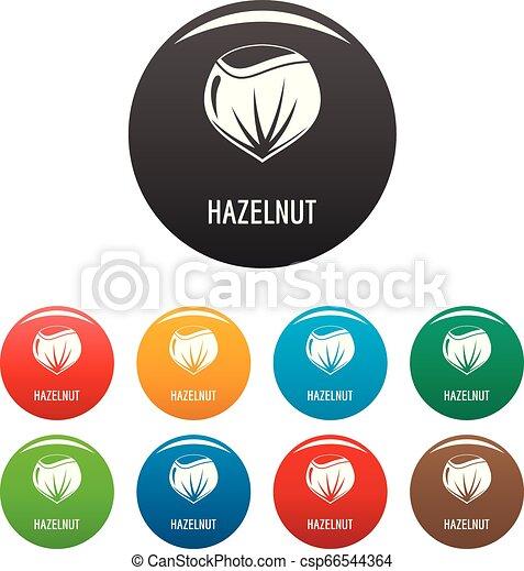 Hazelnut icons set color - csp66544364