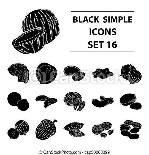 Hazelnut, pistachios, peanuts and other types of nuts.Different types of nuts set collection icons in black style vector symbol stock illustration web. - csp50263099