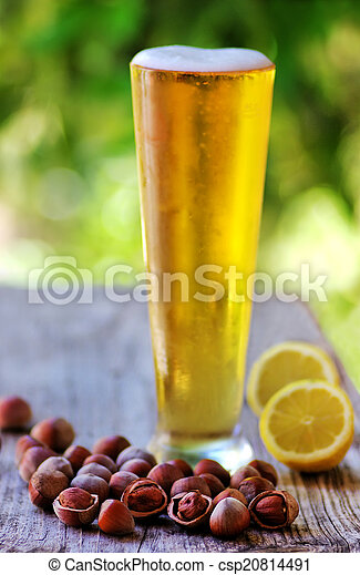 hazelnuts and Ice cold beer - csp20814491