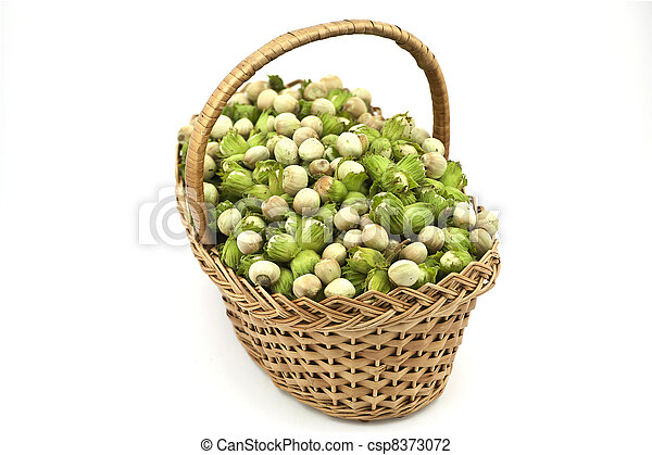 Hazelnuts in the Basket on the White Background - csp8373072