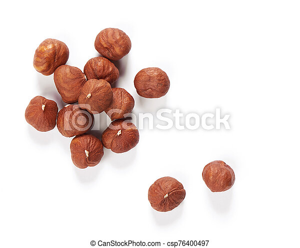 Hazelnuts isolated on white background. Top view. - csp76400497