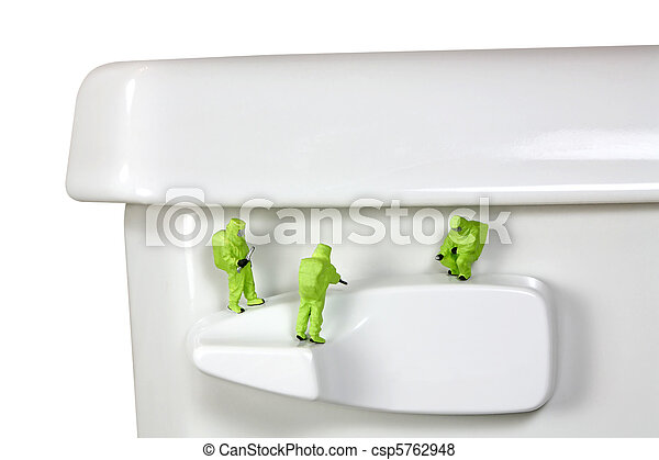 HAZMAT team inspecting germs and bacteria on a toilet handle - csp5762948