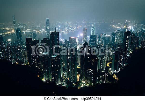 Hazy view from Victoria Peak at night, in Hong Kong, Hong Kong. - csp39504214