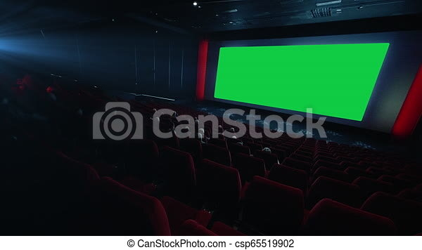 Hd People Watching Movie In Cinema Theater Green Screen Chroma Key