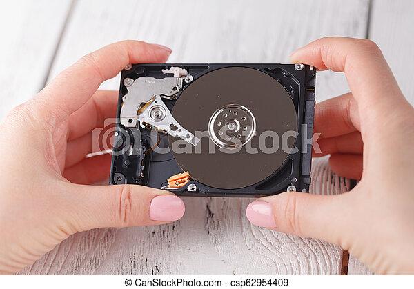hdd, disque dur, femelle transmet - csp62954409