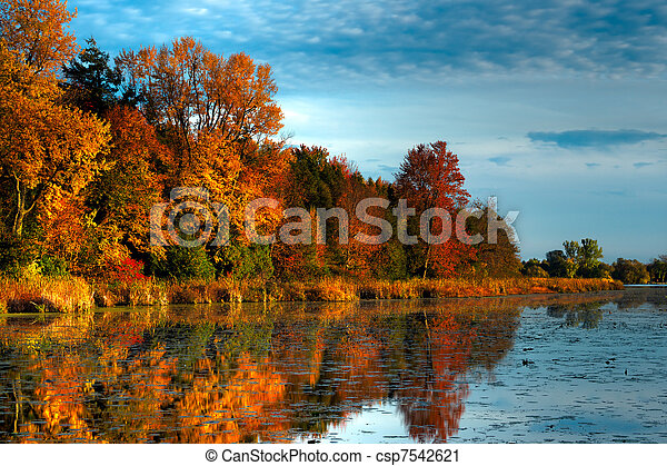 HDR Autumn Forest on Waterfront - csp7542621