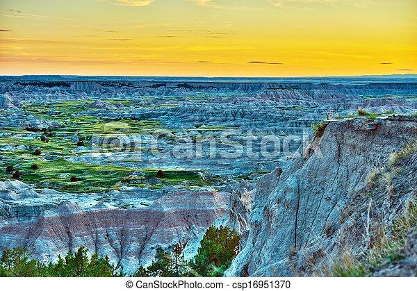 HDR Badlands Sunset - csp16951370