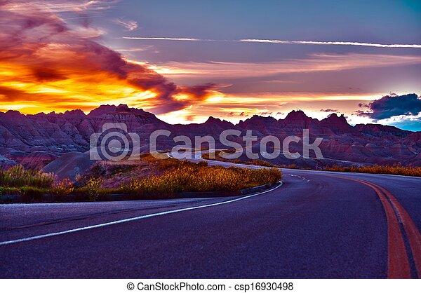 HDR Badlands Sunset - csp16930498