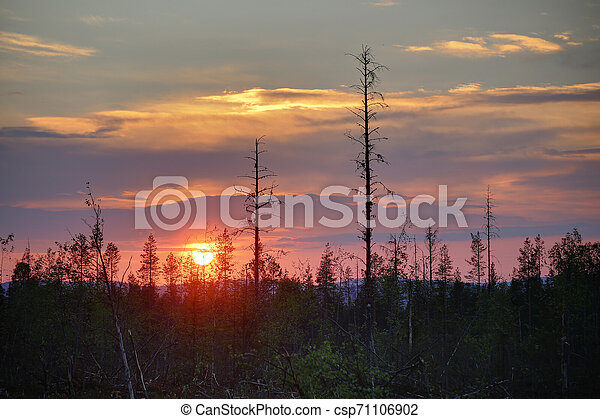 HDR image of colorful sunset in northern Sweden - csp71106902