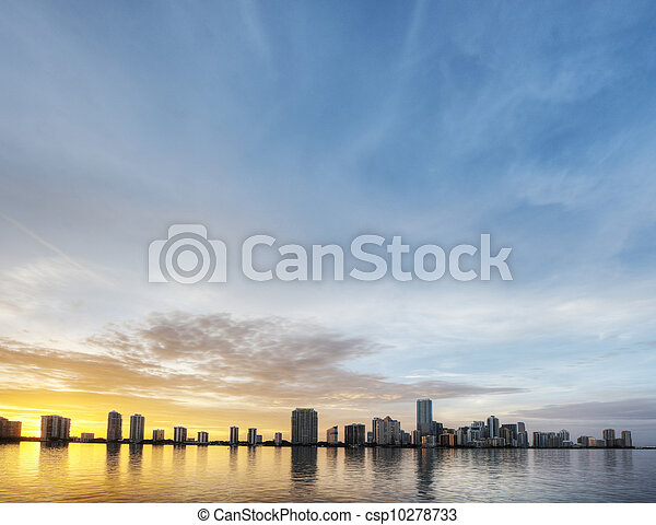HDR Of Miami Skyline At Sunset