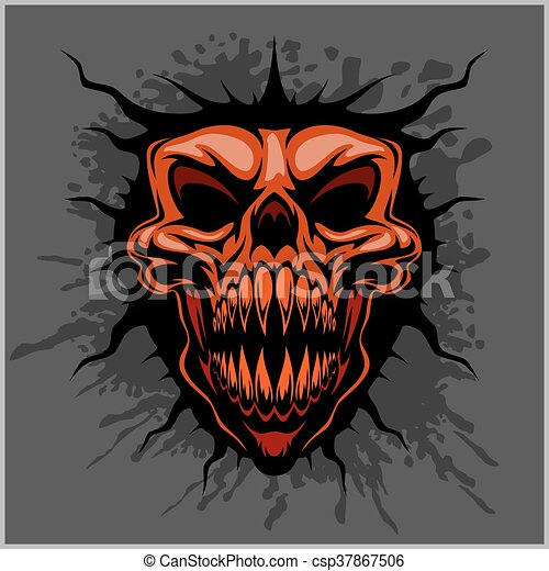 hełm, agresywny, motocross, czaszka - csp37867506