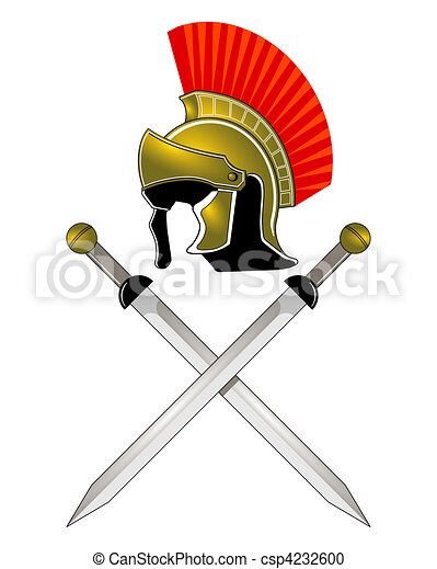 hełm, rzymski, miecze - csp4232600