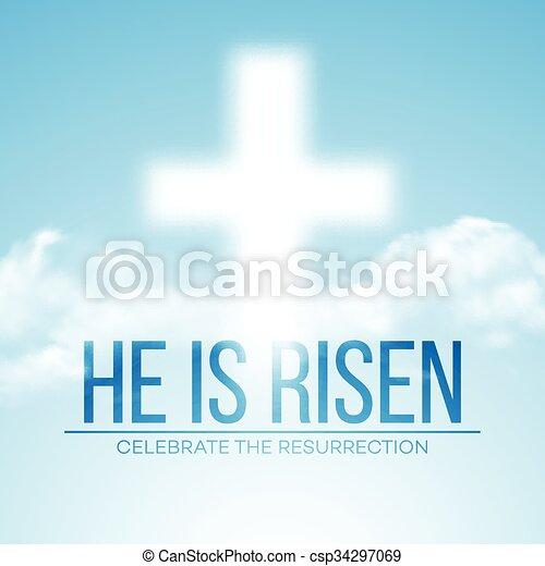 He is risen. Easter background. Vector illustration - csp34297069