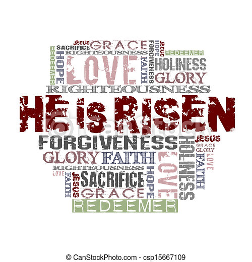 He Is Risen Religious Background - csp15667109