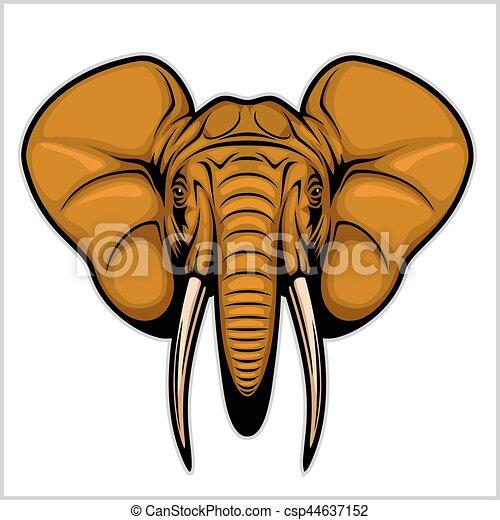 head., 象, 隔離された, white. - csp44637152