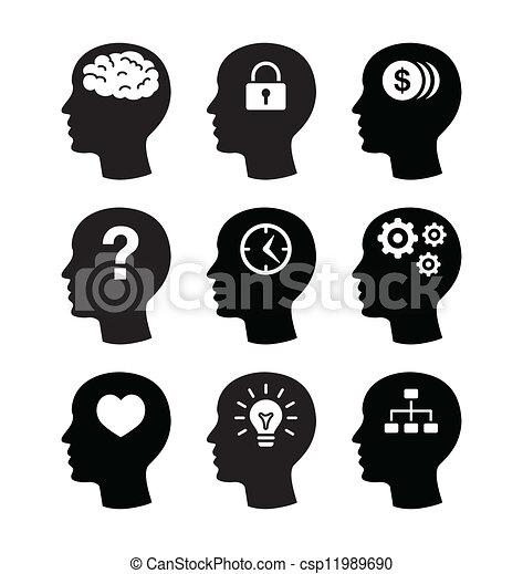 Head brain vecotr icons set - csp11989690