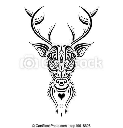 Head cerf pattern ethnique illustration cerf - Dessin tete de cerf ...