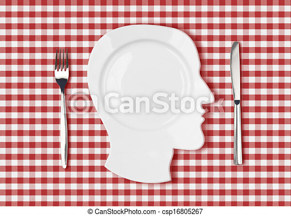 Head Dish Or Plate On Red Picnic Tablecloth With Knife And Fork    Csp16805267