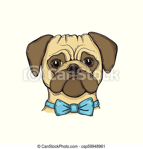 88b4d9b899ac Head dog pug with bow tie, hand-painted portrait. for tshirt, poster ...