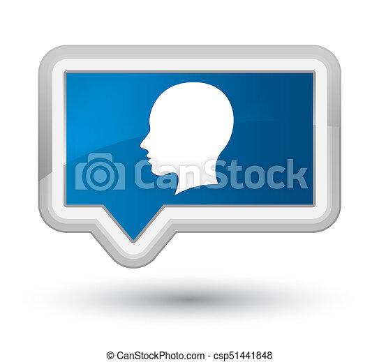 Head female face icon prime blue banner button - csp51441848