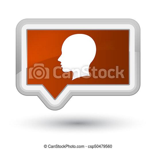 Head female face icon prime brown banner button - csp50479560