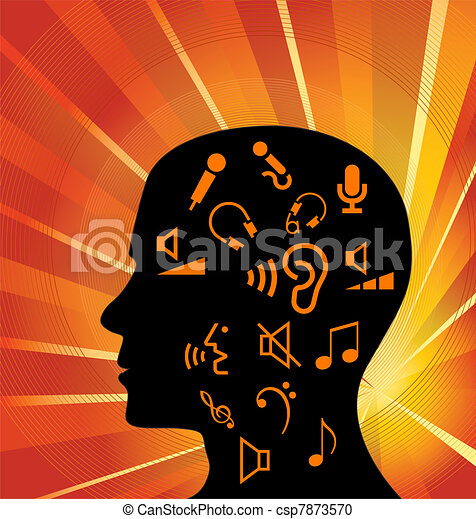 Head full of music icons vector - csp7873570