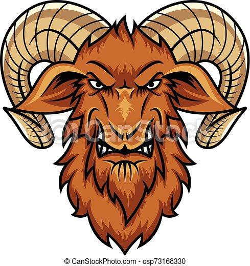 head goat mascot cartoon - csp73168330