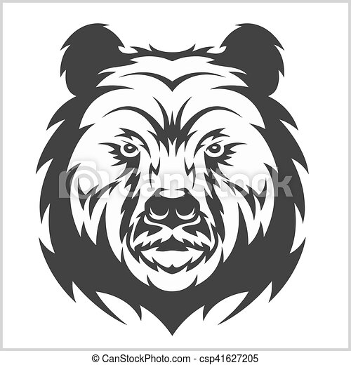 Head grizzly Brown Bear in tribal style - csp41627205