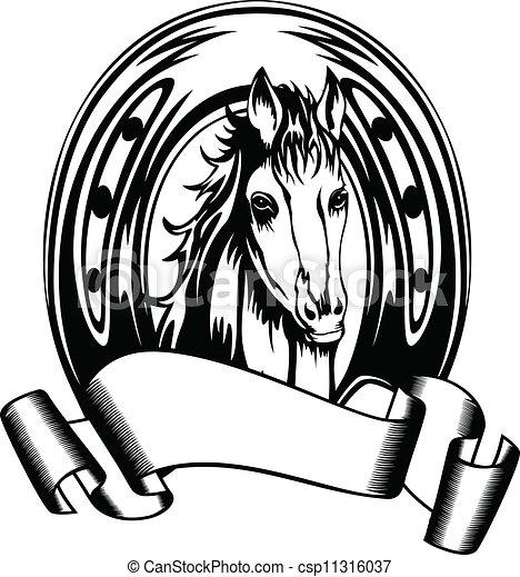 head horse in horse shoe - csp11316037