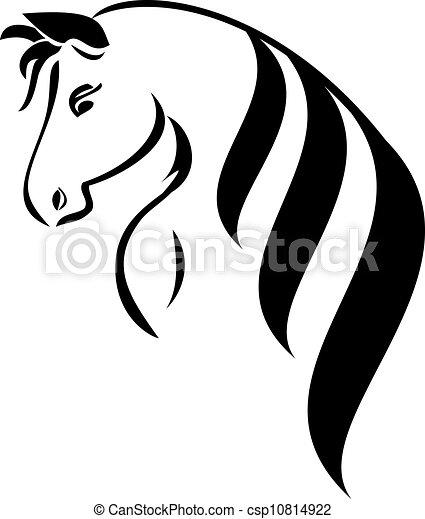 Head horse with beauty hair logo - csp10814922