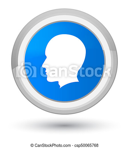 Head male face icon prime cyan blue round button - csp50065768
