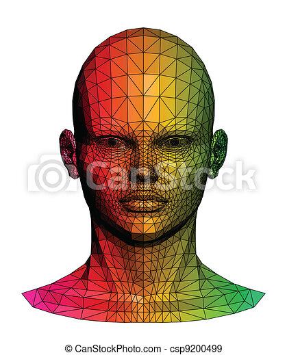 head., menselijk, vector, kleurrijke, illustratie - csp9200499