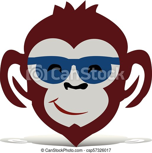 Head of a brown monkey with glasses, cartoon on a white background, - csp57326017