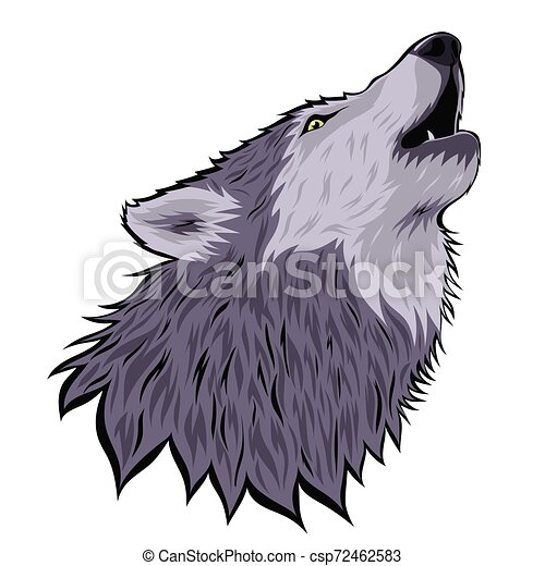 Head of a howling wolf on the moon isolated on a white background. Vector graphics. - csp72462583