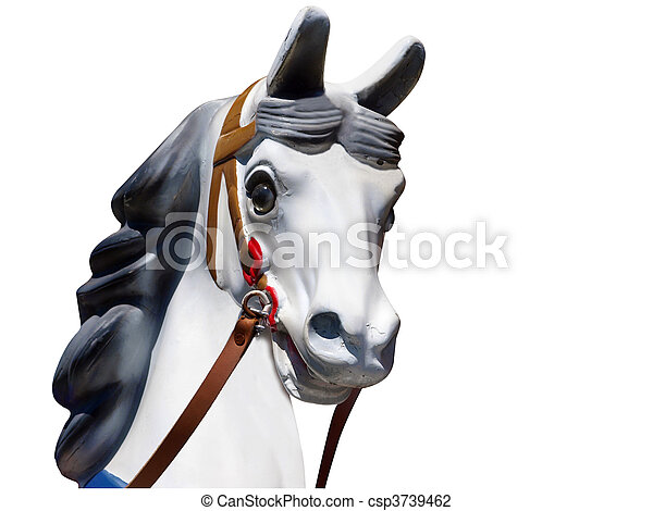 Head of an Old Merry-Go-Round Horse - csp3739462