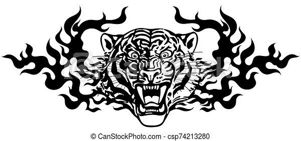 Head of Angry tiger in tongues of flame black white - csp74213280