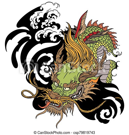 head of Asian dragon tattoo - csp79819743