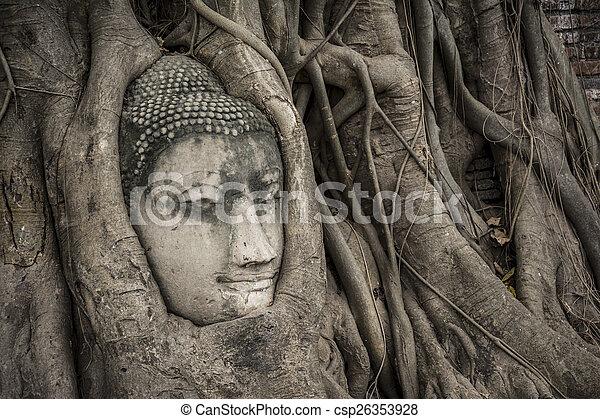 Head of Buddha statue in the tree roots at Wat Mahathat, Ayutthaya, Thailand. - csp26353928