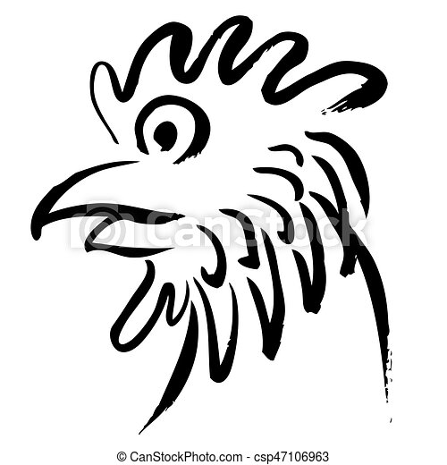 Head of chicken hand drawn - csp47106963