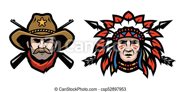 head of cowboy and indian head of cowboy and indian vector rh canstockphoto com indian head clipart black and white indian chief head clipart