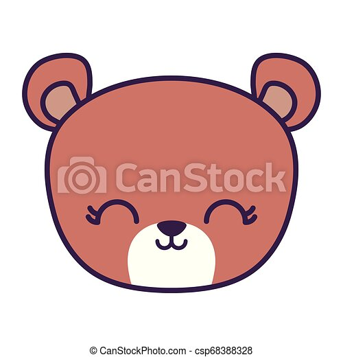 head of cute bear animal isolated icon - csp68388328