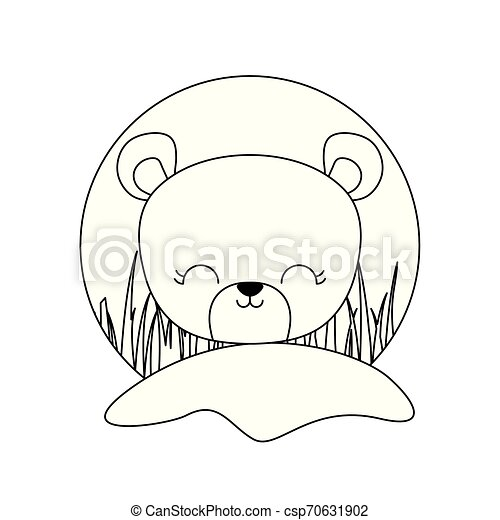 head of cute bear animal isolated icon - csp70631902