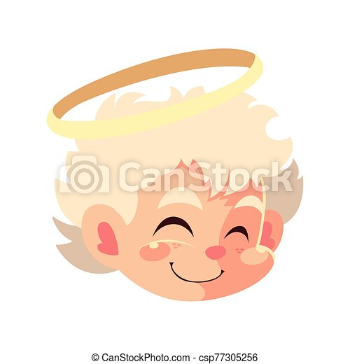 head of cute cupid angel on white background - csp77305256