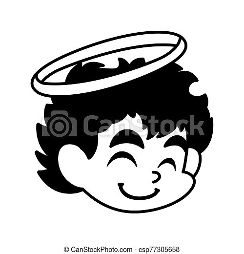 head of cute cupid angel on white background - csp77305658