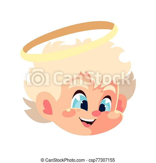 head of cute cupid angel on white background - csp77307155