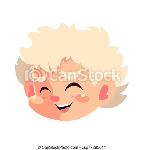 head of cute cupid angel on white background - csp77295611