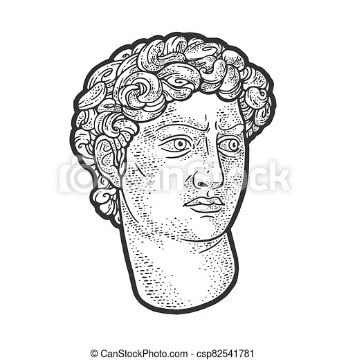 head of David statue sketch engraving vector illustration. T-shirt apparel print design. Scratch board imitation. Black and white hand drawn image. - csp82541781