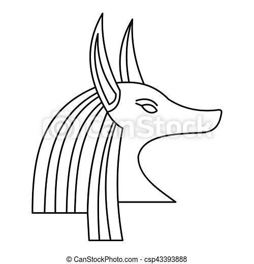 Head of egyptian god Anubis icon, outline style - csp43393888