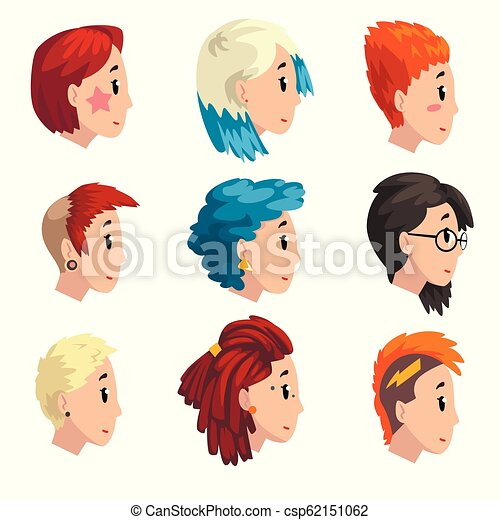 Head Of Girls With Fashion Hairstyles Set Profile Of Young Women
