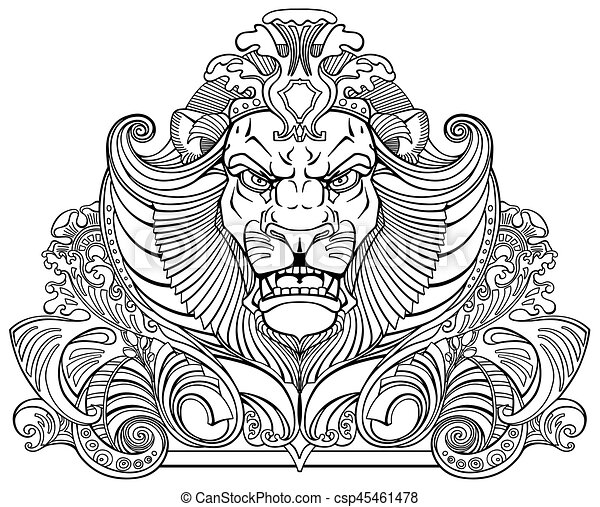 Head Of Lion Black White Head Of Lion King Front View Ornament Tattoo Black And White Outline Vector Illustration Canstock Lions clipart black and white. https www canstockphoto com head of lion black white 45461478 html